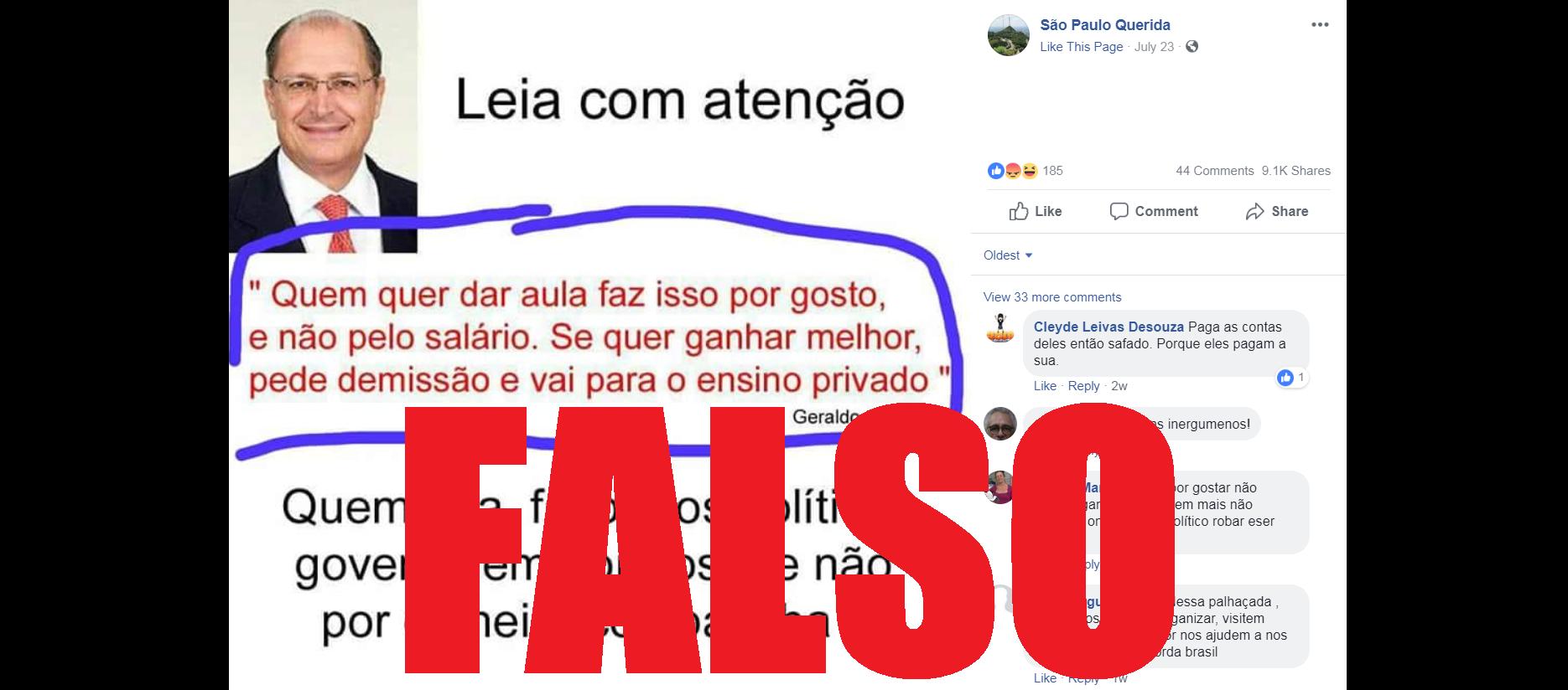 Captura de tela de uma publicação no Facebook disseminando a falsa alegação, 10 de agosto de 2018