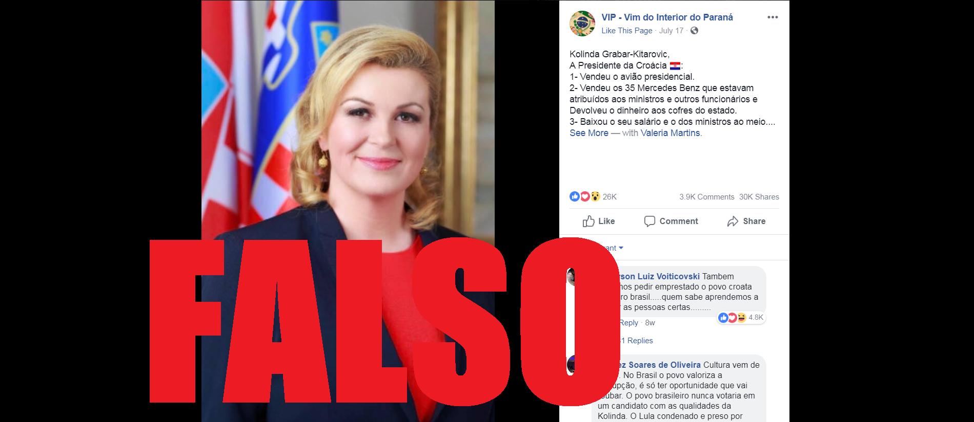 Captura de tela de uma publicação no Facebook disseminando a informação falsa, feita 18 de setembro de 2018