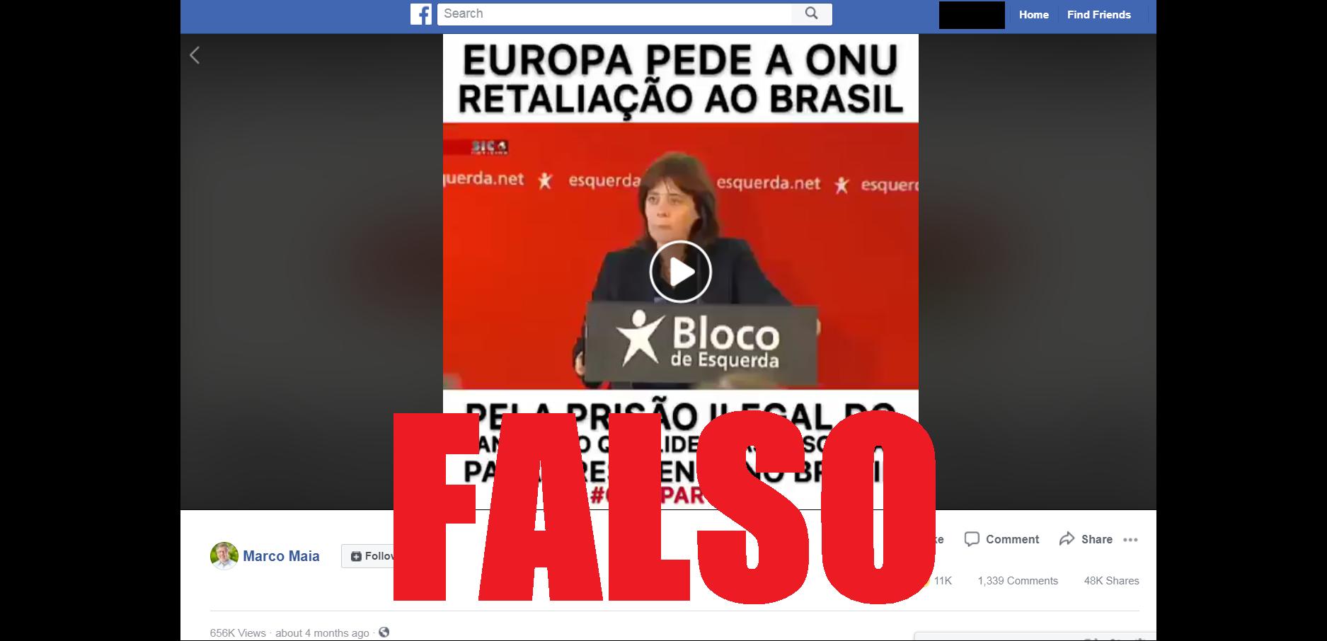 Captura de tela de uma publicação no Facebook disseminando o video fora de contexto, 16 de agosto de 2018