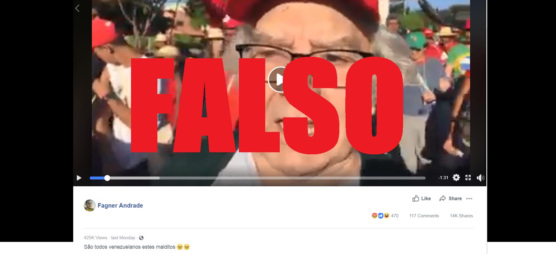 Captura de tela de uma publicação no Facebook disseminando um vídeo com uma alegação falsa, 20 de agosto de 2018.