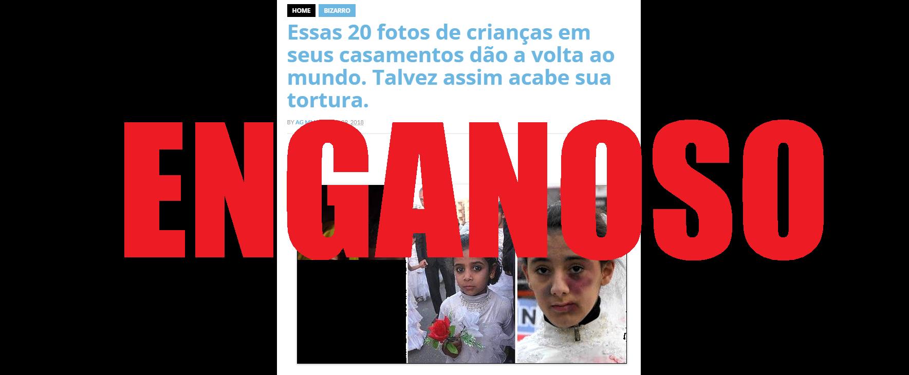 Captura de pantalha de uma publicação utilizando fotos fora de contexto para ilustrar meninas forçadas a casas, feita 25 de julho de 2017.
